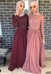 Chiffon Bridesmaid Dress Beaded Sleeves Australia - Cheap Beaded 2019 Muslim Prom Dresses Crew Long Sleeves A-line Chiffon Evening Dresses Elegant Formal Party Bridesmaid Pageant Gowns