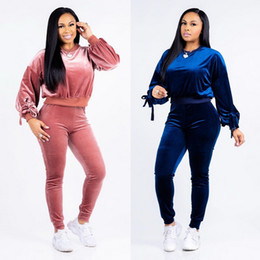 women pink velvet suits UK - Spring   Fall Women Velvet Suit Fabric Tracksuits Velour Suit Women Track Suit And Pants Size S -XXL