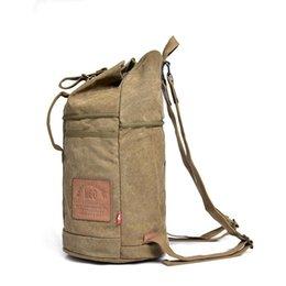 Sport bag String online shopping - Bucket Cylinde Shape Style Canvas Bags Sport Outdoor Packs Backpack Casual Backpack With Letter String Interior Zipper Pocket Slot Pocket