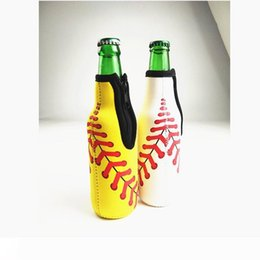 wine sleeves NZ - A Beer Bottle Holder with Zipper Neoprene Wine Bottle Coolers Baseball Softball Floral Printed Beer Sleeves W7322