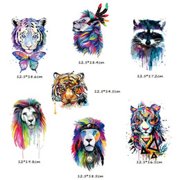 Wholesale diy heat patches resale online - Watercolor Animal Patch Iron On Tiger Patches For Kids Clothes Diy Hat Applique Heat Transfer Vinly Appliqued Washable