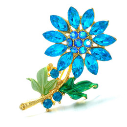 Vintage Flower Brooches Australia - Fashion Wedding Plant flower Brooch Pins Rhinestone Crystal brooch Scarf Pin Vintage brooches Women Jewelry