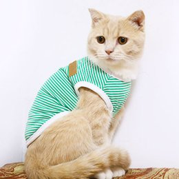 $enCountryForm.capitalKeyWord Australia - Cute Stripe Cat Vest Shirt Classic Pet Clothes for Cats Ropa Para Gato Katten Kleding Kedi Giyim Cats Clothing for Pets Outfit