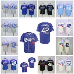 Wholesale Men s Jackie Robinson Jerseys vintage baseball shirts Brooklyn Jerseys White Black Blue Stitched retro baseball wear