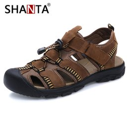 Quality Beach Wraps Australia - SHANTA Men's Sandals Summer High Quality Brand Shoes Men Beach Sandals Men Causal Shoes Genuine Leather Fashion Outdoor