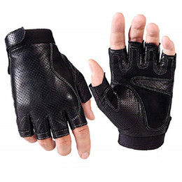 Motorcycle Leather Cycle Gloves Australia - Mens Fingerless Faux Leather Driving Gloves The Palm With Pad Half Finger Porous Cycling Motorcycle Fitness Outdoor Sport Gloves