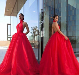 $enCountryForm.capitalKeyWord Australia - 2019 Sexy Backless Organza Prom Dresses Puffy Skirt Halter Long Miss Pageant Wear Cheap Ball Gown Celebrity Evening Party Gowns Plus Size