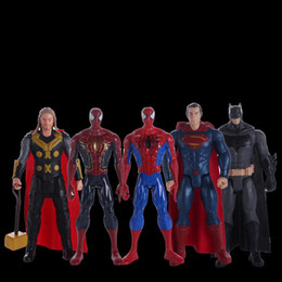 12 marvel figure NZ - New Sound And Light Version The Avengers PVC Action Figures Marvel Heros 30cm Iron Man Spiderman Captain America 10 Style Ultron Figure Toys