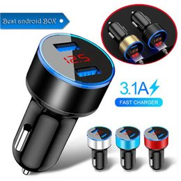 Moblie Car Australia - 3.1A 12V-24V Dual USB Car Charger LED Display Quick Charge Moblie Phone Fast Charging Car Charger for LED Display