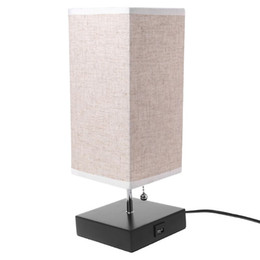 Lighted Pull Switch NZ - Wood Base Fabric Shade Bedside Table Lamp With USB Port & Pull Switch Modern Design