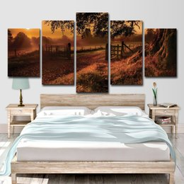 $enCountryForm.capitalKeyWord Australia - 5 Piece HD Printed Fence Sun Tree Painting Canvas Print Room Decor Print Poster Picture Canvas Free Shipping