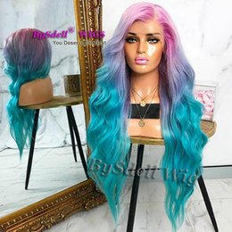 $enCountryForm.capitalKeyWord Australia - Pretty Natural Looking mermaid Long wavy Hair Full Lace Wig Synthetic Heat Resistant Free Part Full Lace Wigs for Black  White Women