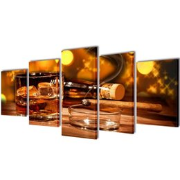 large wall prints NZ - September 5 Pcs Print On Canvas By Wall Whiskey And Cigar 100 X 50 Cm Wall Stickers