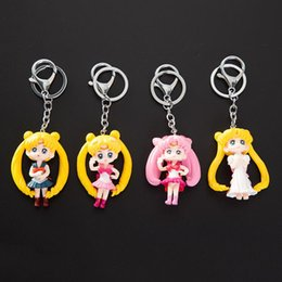 sailor moon figures wholesale Australia - Good Twinkle Dolly Sailor Moon toy with Keychain Cute Version Action Figure Pendant Japanese Anime Keychain Toys Gifts
