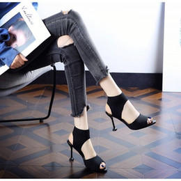 Glitter mouth online shopping - Europe and the United States Summer open toed fish mouth Roman sandals female elastic knitting black banquet fine heels high heels