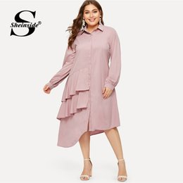 $enCountryForm.capitalKeyWord Australia - wholesale Plus Size Pink Casual Ruffle Detail Shirt Dress Women 2019 Spring Asymmetrical Hem Midi Dresses Ladies Straight