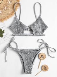 f4a49a44691e9 Smocked String Bikini Swimwear Women Bralette Swimsuit Low Waist Spaghetti  Strap Shirred Tie Side Biquni Bathing Suit Bikini Set