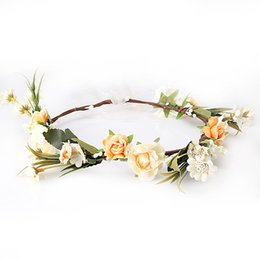 hair flower headbands Canada - M MISM Bride Women Flower Crown Hair Band Wedding Floral Headband Garland Ribbon Bow Girl Flower Wreath Elastic Hair Accessories