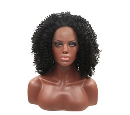 Elastic Hair Wig NZ - Hot selling fashion high quality Afro curly medium hair lace frontal wigs 12 inch elastic lace cap with weaving cap free shipping