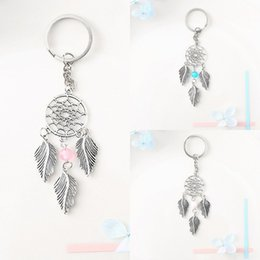 Wholesale Free DHL Delicate Dreamcatcher Leaves Keychains Alloy Crystal Keychain Car Key Ring Handbag Pendant Dream Catcher Keyring Colors G267Q F