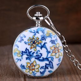 $enCountryForm.capitalKeyWord UK - Antique Chinese Retro Porcelain Flower Ceramic Mechanical Pocket Watch Roman Number Men Women Pendant Chain Gift