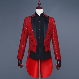 $enCountryForm.capitalKeyWord Australia - High Quality Men's 5 Colors Sequin Double Breasted Slim Fit Tailcoat Stage Singer Prom Dresses Costume Wedding Groom Suit Jacket