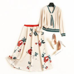 $enCountryForm.capitalKeyWord Australia - New 2019 Autumn Fashion Womens Elegant Skirts Suit Knit Sweater Striped V-neck Pullovers + Floral A-line Skirts Two Piece Set