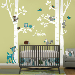 Large Animal Wall Stickers Australia - Large Birch Trees Animals Owl Squirrel Deer Forest Vinyl Nursery Wall Decals Personalized Art Stickers for Kids Rooms Home Decor