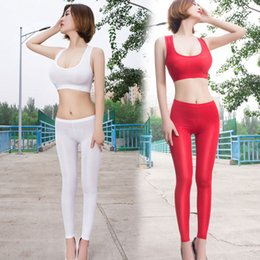 through leggings Canada - Sexy Women Ice Silk Smooth Transparent Pencil Pants Candy Color See Through Elastic Skinny Leggings lossy Low Waist Plus Size