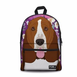 red satchel backpack for kids NZ - Customized Basset Hound Dog Pattern School Backpack For Boys Girls Kids Bags Children Back to High School Bags Child Satchel