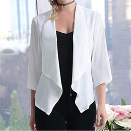 Office blazers online shopping - 2019 Fashion Office Lady Women Blazer Sleeve Blazer Open Front Short Cardigan Suit Jacket Work Office Black Blue Grey Jacket