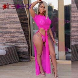 Wholesale bathing suits rhinestones for sale – plus size PinePear Neon Green Diamond Underwear Mesh High Split Dress Piece Set Women Rhinestone Bathing Suit Beachwear Drop