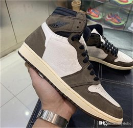 f95028fdfb5b 2019 Hot Authentic Travis Scott 1 High OG TS SP Cactus Jack Dark Mocha Men  Women Basketball Shoes Sports Sneakers CD4487-100 Size 40.5-46