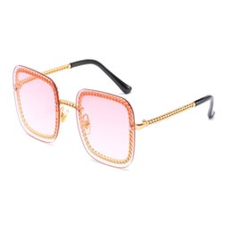 glasses golden chain UK - High Quality Classic Sunglasses Metal Chain Square Design Sunglasses Men Women Fashion Sun Glasses Eyewear Glass Lenses 2019 New Accessories