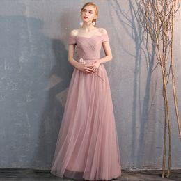 $enCountryForm.capitalKeyWord Australia - Off Shoulder Tulle Long Bridesmaid Dresses Blush Pink Wedding Guest Dress Lace Up 2020 robe demoiselle d'honneur