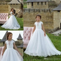 White shirt formal dress for girls online shopping - Princess Flower Girls Dresses For Weddings Jewel Lace Appliques Pageant Gowns Floor Length Formal Party Wear First Communion Dress