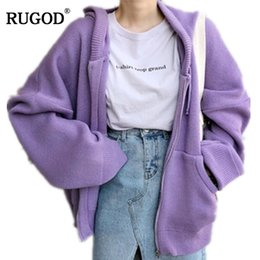 hooded knitted cardigan women NZ - Rugod New Korean Zipper Hooded Cardigan Women Autumn Knitted Jacket 2018 Casual Loose Long Sleeve Sweater Coat Casaco Feminino Y190823