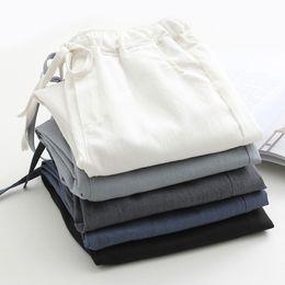 Wholesale black linen trousers women for sale – dress White High Waist Pants Women Leisure Cotton Linen Pantalon Femme Trousers Women Harem Pants Casual Streetwear Black Q1135