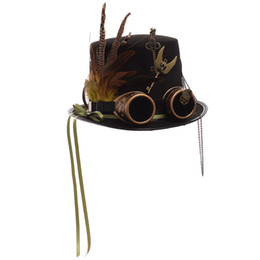 Red latex women costumes online shopping - Ladies Black Feather Women Fedoras Steampunk Gears Men Top Hat With Googles Ladies Black Feather Women Fedoras Steampunk Gears Men Top Hat