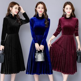 sexy business clothes Canada - Latest Design Turtleneck Velvet Mini Dress Fall Winter Women's Clothing Sexy Pleated Dress Office Business Ladies Slim Prom Cocktail Dresses