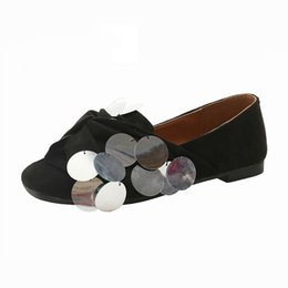 6c3c38adb7 Womens Loafers Square Toe Flats Sequins Casual Shoes Suede Black Apricot  British Style Flat Shoes Women