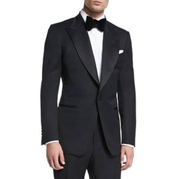 $enCountryForm.capitalKeyWord Australia - Black Wool Blend Man Suits for Wedding Groom Tuxedos Wide Peaked Lapel Man Blazers One Button Costume Homme 2Piece Slim Fit Terno Masculino