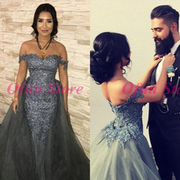$enCountryForm.capitalKeyWord Australia - Gorgeous Sequined Lace Off Shoulder Mermaid Evening Dresses Appliques Tulle Long Silver Prom Party Gown With Removable Skirt