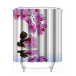 curtain painting UK - Hot Sales Bathroom Curtains Europe Style Pink Flower Painting Polyester Waterproof Shower Curtain With Hooks Curtain