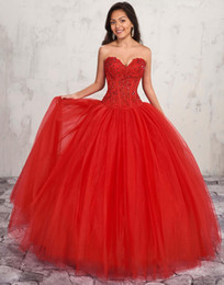 $enCountryForm.capitalKeyWord Australia - Gorgeous Red Strapless Sweetheart Ball Gown Quinceanera Dresses Sweet 16 With Jacket Beaded Lace Appliqued Arabic Prom Dresses