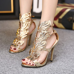 Designs Dress Australia - XingDeng Women Thin Heels Gold Winged Leaves Cut-outs Gladiator Sandals Ladies Design Dress Flame Party High Heel Sandal Shoes