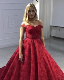 Short Red Lace Prom Vintage Dress Australia - Vintage Red Lace Bodice Quinceanera Prom Dresses Ball Gown 2019 off shoulder With Short Sleeves Cheap Designer Sweet 16 Party Dress Long