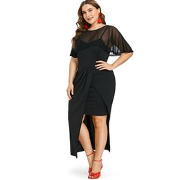 lace see through maxi dress 2019 - Wipalo Plus Size Women Round Neck Short Sleeve Maxi Dress See Through Panel Solid Asymmetric Party Dress Twinset Tunic V