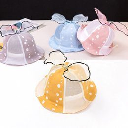 baby bow hat Canada - Lace Bows Newborn Baby Sun Hat Summer Breathable Baby Girl Boy Hat Outdoor Children Kids Infant Toddler Beach Panama Caps