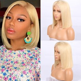 blonde lace front wigs bob Australia - 613 Blonde Short Bob Lace Front Human Hair Wigs Soft Pre Plucked Brazilian Straight Full Lace Wigs For Black Women With Baby Hair